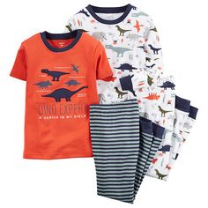 "Carter's Boys 4 Piece Orange ""Dino Expert"" and Dinosaur Allover Printed Tops with Matching Pants Pajama Set - Toddler - Carters - Babies ""R"" Us"
