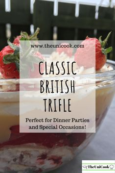 Easy Trifle   Classic British Dessert - TheUniCook Festive-Baking Trifle Bowl Recipes, Trifle Desserts, Dessert Recipes, Trifle With Jelly, Traditional Trifle Recipe, English Trifle, Christmas Trifle, British Desserts, Party Food Platters
