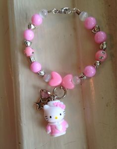 Pink Kitty Beaded Charm Bracelet by PickADaisyBoutique on Etsy
