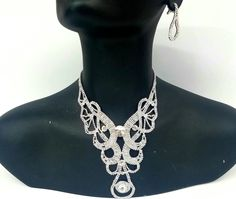Bridal Jewelry Crystal Rhinestone Loop Silver Color Evening Party Wedding Necklace Earrings Set - LA COQUETA JEWELRY #weddingjewelry #bridaljewelry Jewelry on Pinterest, Jewelry Ideas