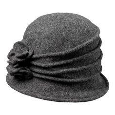 bce52648b9d9 Women's Scala LW497 Knit Hat Cloche with Self Flower - Charcoal Hats  Fisherman's Hat, Brim