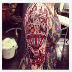 Hot air balloon-castle half sleeve. want something like this, just more magical