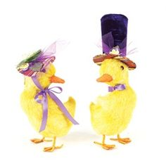 Baby Chicks with Colorful Decorative Hats Easter Figures