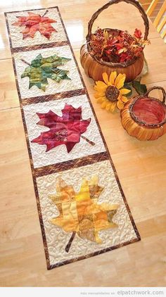 Patchwork Maple Leaf Table Runner Pattern: Say hello to the winds of autumn with this stunning runner. Designed by Jennifer Bosworth of Shabby Fabrics, this design features patchwork - a great way to use up scraps! - and applique. Table Runner And Placemats, Table Runner Pattern, Quilted Table Runners, Fall Table Runner, Thanksgiving Table Runner, Kit Patchwork, Patchwork Ideas, Patchwork Quilting, Patchwork Designs