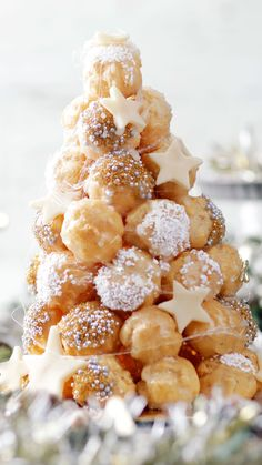 The holidays wouldn't be complete without a magnificent tower of puffed choux pastries to brighten your day. The holidays wouldn't be complete without a magnificent tower of puffed choux pastries to brighten your day. Baking Recipes, Dessert Recipes, Snacks Recipes, Party Recipes, Delicious Desserts, Yummy Food, Tasty, Christmas Cooking, Desert Recipes