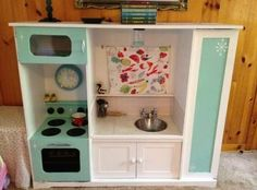 old tv cabinet becomes a play kitchen