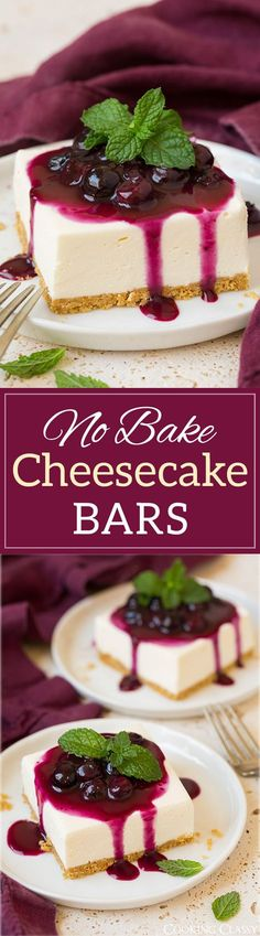 No Bake Cheesecake Bars with Fresh Blueberry Sauce - one of the dreamiest cheesecakes you'll ever eat!! Light, fluffy melt-in-your-mouth decadence!