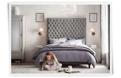 Headboard grey velvet tufted