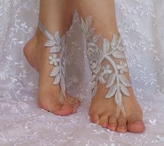 Beach wedding barefoot anklet free ship Barefoot by SummerFeetS