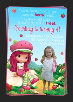 Custom Strawberry Shortcake Birthday Party Invitations