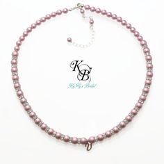 Personalized Flower Girl Necklace, Flower Girl Jewelry, Initial Necklace, Flower Girl Gift, Personalized Gift, Little Girl Jewelry   KyKy's Bridal, Handmade Bridal Jewelry, Wedding Jewelry