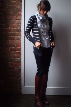 Love the dark colors and the scarf.