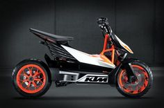 KTM has announced plans to produce the Speed scooter concept it showed at Tokyo this year as the E-SPEED. Based on the FREERIDE E electric drivetrain, the production version of the E-SPEED is expec… Scooter Motorcycle, E Scooter, Bmw I3, Scooter Design, Bike Design, Electric Dirt Bike, Electric Cars, Electric Moped Scooter, Scooter Price