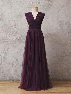 WINE VIOLET</p></h2> Tulle Convertible Dress -Floor Length 305