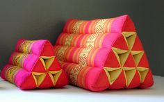 Vintage Thai Triangle Pillows Set of 2 Boho Decor