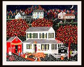 """Colorful and Whimsical Folk Art Print   by artist Tom Menard  """"Halloween Fun"""" in the Town of Woodstock, Ct"""