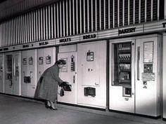 Vintage vending machines. Bakery, bread, eggs. Woman in coat and heels
