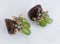 Iradj Moini Amethyst and Peridot beaded Clip Earrings | From a unique collection of vintage clip-on earrings at https://www.1stdibs.com/jewelry/earrings/clip-on-earrings/