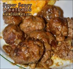 Super Saucy Meatballs from Gooseberry Patch and Alarm Clock Wars