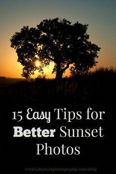 15 EASY tips for better sunset photos via www. Landscape Photography Tips, Photography Basics, Photography Lessons, Photography Camera, Sunset Photography, Photography Backdrops, Photography Tutorials, Photography Photos, Digital Photography