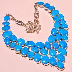 Arizona Turquoise New Fashion Silver Jewelry Ebay Store Necklace 18'' #Handmade #Choker