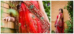 This bride embraced her multicultural wedding and rocked her traditional Red East Indian wedding dress. Photos by Sujata Photography.