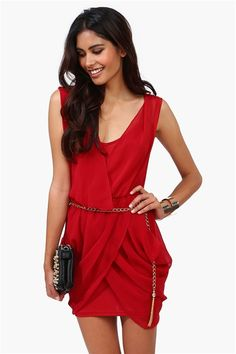 All Chained Up Dress in Red