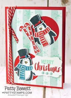 Snow Place stamp set penguins die cut with the Snow Friends framelits. Save 15% when you purchase the bundle from Stampin Up!. Click for details and ordering info from Patty Bennett