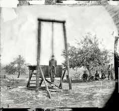 1864 - Petersburg, Virginia .The execution of Sergeant William Johnson, Negro soldier, at Jordan's farm. Hanged for Desertion by Timothy H. O'Sullivan