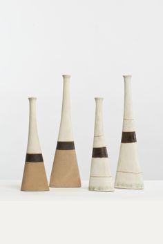 Bruno Gambone; Glazed Ceramic Vases, c1980.