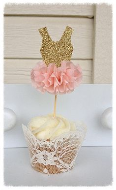 Gold Glitter Ballerina Tutu Cupcake Toppers Birthday Decoration Ballet decor Set of Six Birthday party