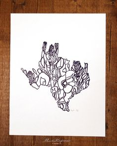 Letterpress Texas Bluebonnet by thimblepress on Etsy, $25.00 // I saw this today at the Summer Indie Craft Fair in Atlanta and it's gorgeous! I should've bought it. #texaslove