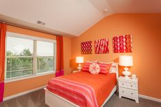 Pink and orange look like a delicious sorbet! How fun for a girl's room.   #pink #orange #sorbet #colorscheme #Atlanta