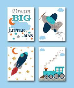 Baby Boy Nursery Quotes Dream Big Little Man by artbynataera