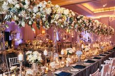 Head table idea, maybe one head table for family or two large head tables. One with family one for bridal party with the same floral display Reception Decorations, Flower Decorations, Wedding Centerpieces, Wedding Table, Table Decorations, Atlanta Hotels, Head Tables, Georgia Wedding, Wedding Trends