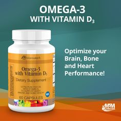 with Vitamin way to optimize your brain, bone and heart performance. Human Nutrition, Compost Tea, Tea Ideas, Hair Loss Remedies, Vitamin D, Heart Health, Nutritional Supplements, Omega 3, Your Brain