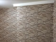 Travertine stone wallpaper, just hung on the walls in this #homeimprovement project by Wilkie Joissaint