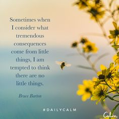 Sometimes I consider what tremendous consequences come from little things, I am tempted to think there are no little things. Calm Quotes, True Quotes, Positive Quotes, Qoutes, Profound Quotes, Spiritual Wisdom, Spiritual Awakening, Lessons Learned In Life, Life Lessons
