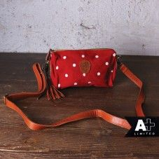 alprausch red white polka dots leather bag