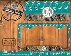Turquoise Monogram License Plate Frame Holder Hunting Browning Buckhead Deer Camo Car Front license plate Tags Personalized Custom Country by BlingSity on Etsy