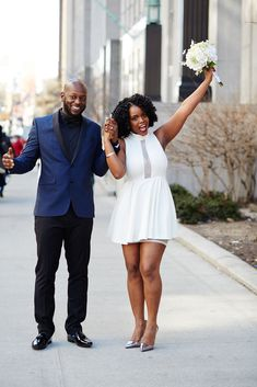"It's a party! Stevon and Ayanna officially said ""I do!"" #refinery29 http://www.refinery29.com/spring-city-hall-weddings-nyc#slide-1"