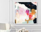 Ruthie, 6x6-24x24in, Abstract Fine Art Print, abstract print, blue abstract, pink abstract