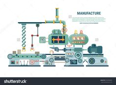Industrial Abstract Machine In Flat Style. Factory Construction Equipment…