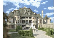 Luxury House Plans- French Home Design Chateau Novella # 14328 on imgfave Luxury House Plans, Dream House Plans, My Dream Home, Castle House Plans, Modern Castle House, Luxury Floor Plans, Small Castles, French Chateau, Big Houses
