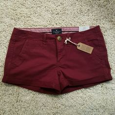 NWT American Eagle Burgundy Shorts Shortie Low rise stretch shorts. Very flattering on! American Eagle Outfitters Shorts