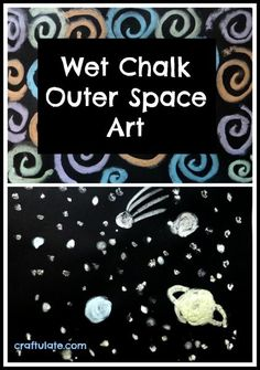 Using wet chalk on black card is a technique that creates some stunning artwork - and worked well for an outer space theme!