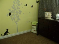 Baby room ideas. I painted my sons room owl and bird themed....and you always need a cat.