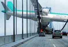 Steve McGhee's Apocalyptic photoshopping 2009...airplane crash into bridge