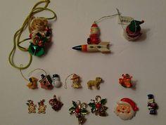 Lot of Christmas Pins, Necklace, Earrings, Mini Ornaments, and Littles Santa Snowman Teddy Bear Tigger Christmas