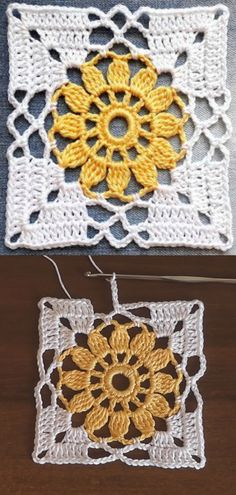 Crochet Easy Flower Square Motif Crochet flower granny square motif is one of those beautiful and easy patterns each and every crocheter would love to make. These colorful squares. Crochet Motifs, Granny Square Crochet Pattern, Crochet Blocks, Crochet Squares, Thread Crochet, Crochet Crafts, Double Crochet, Single Crochet, Easy Crochet